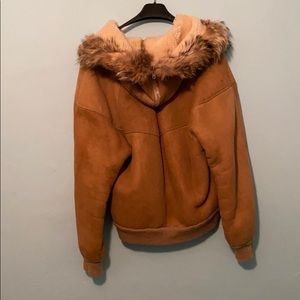 Suede Sherpa lined jacket with fur lined hood